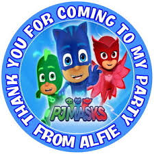 personalised gloss pj masks birthday party bag sweet cone stickers