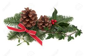 christmas decoration of holly ivy mistletoe pine cones and