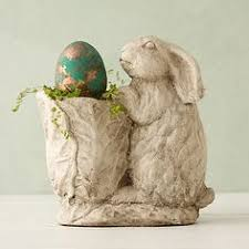 shabby chic rabbit ring holder images Antique large rabbit planter shabby chic garden pot in shape of jpg