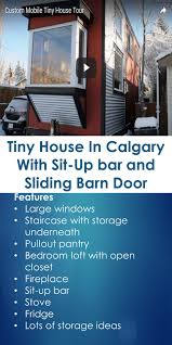 tiny house in calgary with sit up bar and sliding barn door tiny