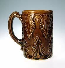 antique ceramic primtive artisan mug cup brown art pottery clay
