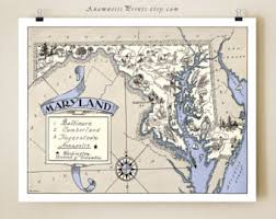 map of maryland to print maryland map etsy