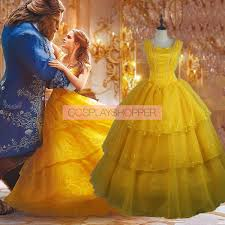 2017 new movie beauty and the beast belle princess dress cosplay