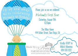air balloon blue printable birthday invitation