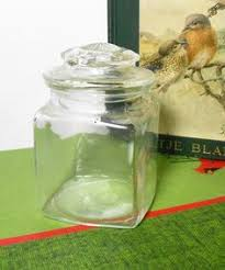 Vintage Food Storage Containers - vintage canister green glass dry goods large canister green