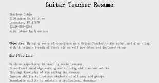 Teachers Resume Example by Guitar Teacher Resume Best Resume Collection