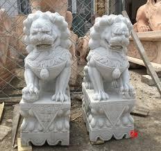 foo lion statue mascot statue caved white marble lion foo dog statue