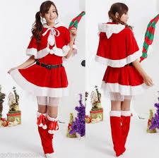 new cute miss santa claus mrs christmas hooded cape fancy dress