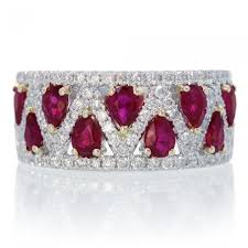 ruby band pear shape criss cross diamond anniversary band ring