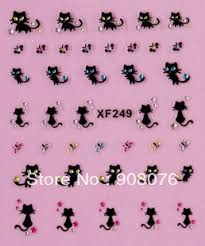 best selling 3d french nail decals black cat designs nail art