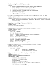 Sample Resume For Assistant Professor In Computer Science by Resume For Lecturer Post In Computer Science Contegri Com