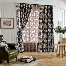 country curtains royal blue floral print poly cotton