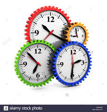 abstract clocks abstract 3d illustration of clocks gear wheels over white