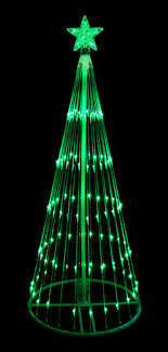 green led light show cone tree lighted yard