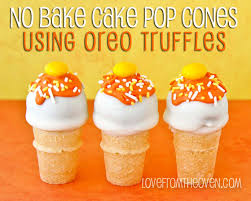 no bake oreo cake pop cones for halloween love from the oven