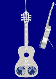 silver plated guitar ornament mini guitar gift with crystals