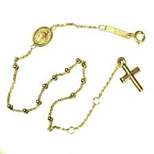rosary bead bracelet 9ct yellow gold rosary bracelet miraculous medal cross
