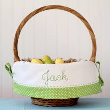 easter basket liners personalized personalized easter basket embroidered name fits pottery