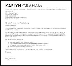 Sales Team Leader Cover Letter Sample