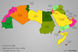 Jordan World Map by The Arab World Gdp Per Capita Map The Life Pile
