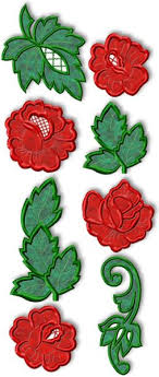 advanced embroidery designs roses and leaves applique set