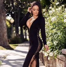 plunging neckline lace up plunging neckline black dress hot sale casual dress lace