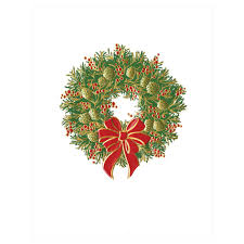 wreath with bow large embossed boxed christmas cards 10 cards