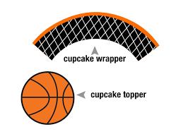 printable basketball cupcake topper and cupcake wrapper digital