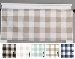 Brown Gingham Curtains Gingham Valance Etsy