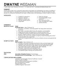 Cosmetology Resume Examples Beginners by Curriculum Vitaeresume Template For Internships For College