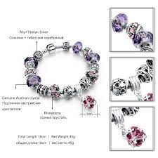 bracelets for 925 silver charm bracelets for women with purple murano