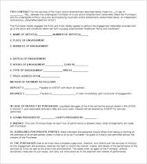 band contract template example contract samplecontract jpg 5