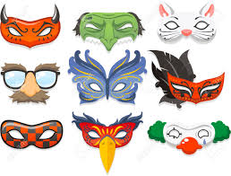 halloween costume mask cartoon illustration icons royalty free