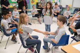 young students learn how to resolve conflicts without violence