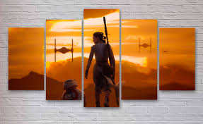 Office Decor by Star Wars Movie 5 Panel Canvas Rey Imperial Fighters Office