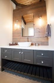 vanity designs for bathrooms gray bathroom vanity reclaimed wood accent wall country
