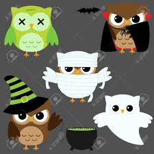 set of cute vector owls in halloween costumes royalty free