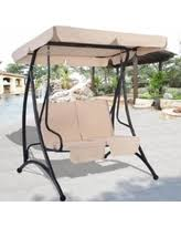 sweet deal on costway brown 2 person canopy swing chair patio