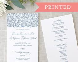 formal wedding programs slate blue wedding etsy