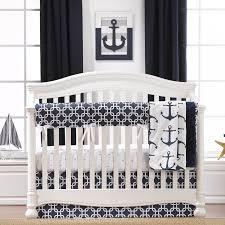 Black And White Crib Bedding Sets Annmarie Anchors Bumperless 4 Crib Bedding Set
