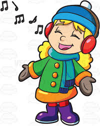 a singing along to a christmas song playing on her headphones
