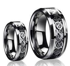 carbon wedding band his s 8mm 6mm tungsten carbide celtic knot design