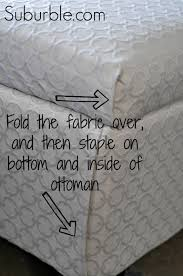How Much Upholstery Fabric Do I Need For A Couch The No Sew Way To Recover An Ottoman Suburble