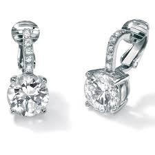 earrings clip on 6 18 tcw cubic zirconia clip on drop earrings in platinum