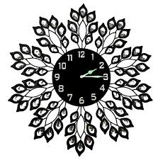 decorative clock decorative black leaf metal wall clock black glass dial in arabic