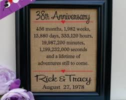 38th wedding anniversary 38th anniversary etsy