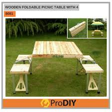 Wooden Folding Picnic Table 8081 Wooden Foldable Picnic Table With 4 Chairs