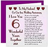 Message To My Husband On Our Wedding Anniversary My Husband 6th Wedding Anniversary Card On Our Iron Anniversary