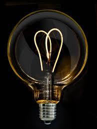calex led light bulbs 5 watt vintage g125 amber glass twin loop led filament bulb e27