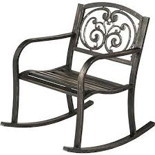 Patio Rocking Chairs Metal Pattern Outdoor Rocking Chair Cast Iron Metal Bronze Garden